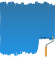 blue background with paint roller vector image