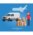Funny pizza delivery boy vector image