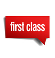 first class red 3d realistic paper speech bubble vector image
