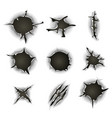 bullet gunshot holes cracks and scratches set vector image