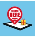 promo here online gift pin map vector image