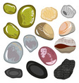 set of stones from the sea coast smooth water vector image