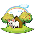 A dog inside the dog house with an apple tree at vector image vector image