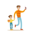 Father And Son Holding Hands Going To Cinema Part vector image