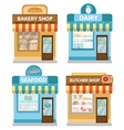 Stores building set flat style Shop collection vector image