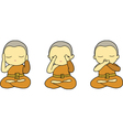 Little monks closing ears eyes and mouth vector image