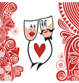 Glasses love valentines day card vector image vector image
