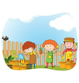 Gardeners planting in the garden vector image vector image