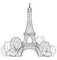 Doodle Eiffel tower Hand Drawn sketch vector image