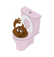 Funny shit and toilet Funny Turd of closet Pink vector image