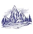 Ball pen river and mountain landscape vector image
