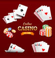 Casino design elements poker chips playing cards vector image