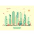 Chicago skyline flat design vector image