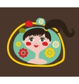 Cute portrait of the young girl with black hair vector image