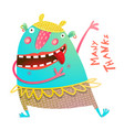 dancing showing cheerful cute monster for children vector image