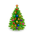 Green decorated Christmas tree isolated on white vector image