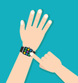 Smart watch with hands vector image
