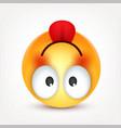 smiley happy emoticon with tongue yellow face vector image