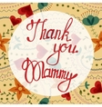 Thank you Mammy lettering onfloral baclground vector image