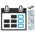 Calendar Week Flat Icon With Bonus vector image