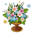 Bright bouquet of flowers in vase and butterfly vector image