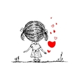 Girl with red heart valentine card sketch for your vector image