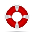 Red life buoy with a rope and silver accents vector image