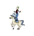 carnival circus fun fair clown and horse juggling vector image