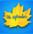 first september autumn light blue background vector image