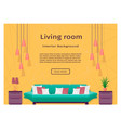 graceful bright living room interior banner for vector image