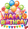 Happy birthday text with party elements vector image