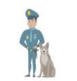 hispanic police officer standing near police dog vector image