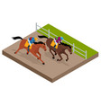 isometric galloping race horses in racing vector image