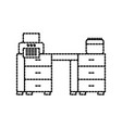 office desk printer paper and calendar workspace vector image