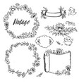 vintage drawings of flowers labels by hand vector image