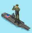 watching soldier over aircraft carrier of vector image