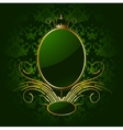Royal green background with golden frame vector image vector image