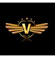 Letter V winged crests logo Alphabet logotype vector image
