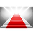Stairs covered with red carpet Scene illuminated vector image