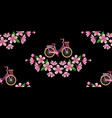 bike and cherry blossom embroidery seamless vector image