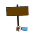hand holding placard blank campaing vector image