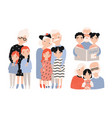 happy grandparents with grandchildren set hand vector image