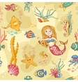 Yellow seamless pattern with mermaid vector image vector image