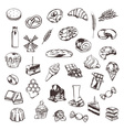 Confectionery sketches of icons set vector image