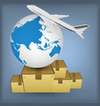airline transport globe box vector image