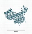 Doodle sketch of China map vector image