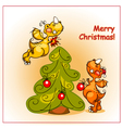 two cheerful dragon decorate a christmas tree vector image