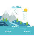 water cycle and mountain river landscape flat vector image