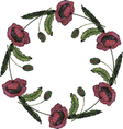 Watercolor beautiful poppy wreath vector image