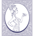 rococo style young woman lined vector image vector image